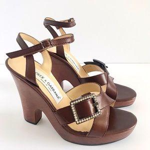 Dolce & Gabanna Vintage Wood & Leather Sandals Y2K